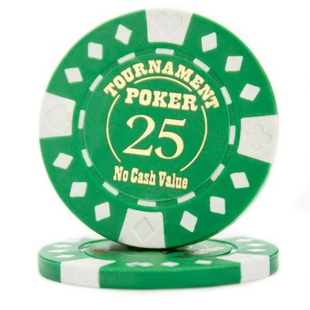 Texas Holdem Tournament Software - Poker Chip Set, Pack Of 25 Texas Holdem Professional Tournament Poker Chips, Green