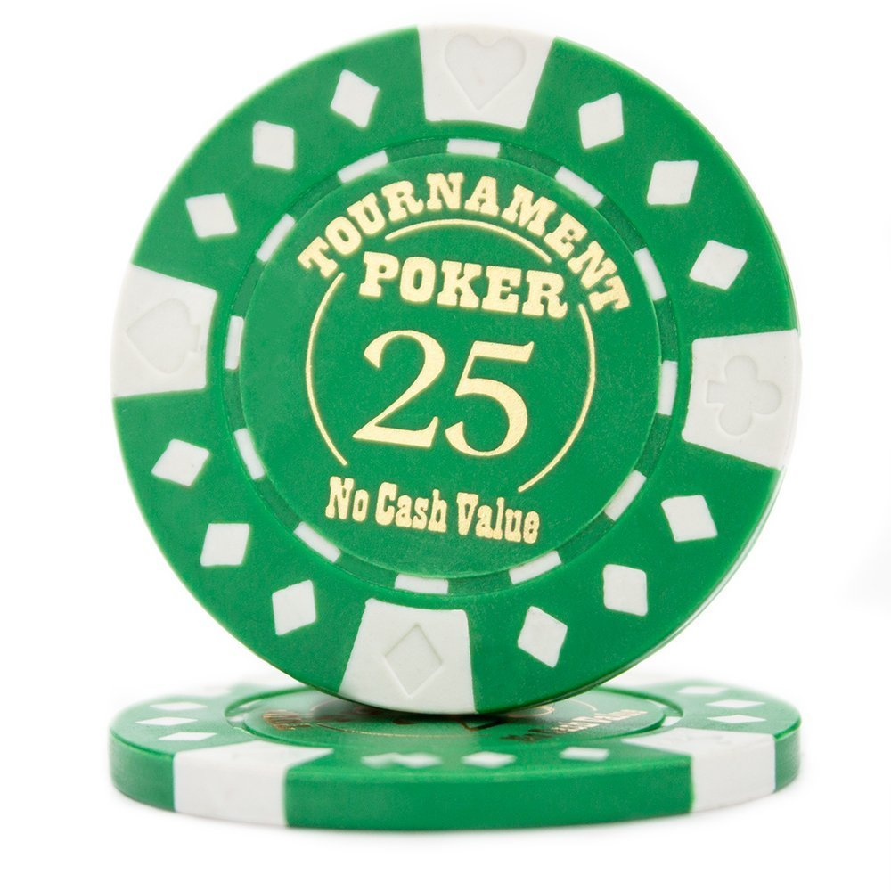 Poker Chip Set, Pack Of 25 Texas Holdem Professional Tournament Poker Chips, Green