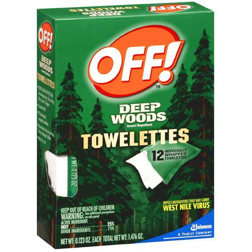 Off!: 12 Insect Repellent Towelettes Deep Woods, .123 Oz