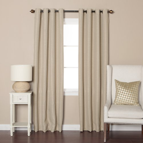 Best Home Fashion, Inc. Shimmery Basketweave Solid Blackout Grommet Curtain Panels (Set of 2)