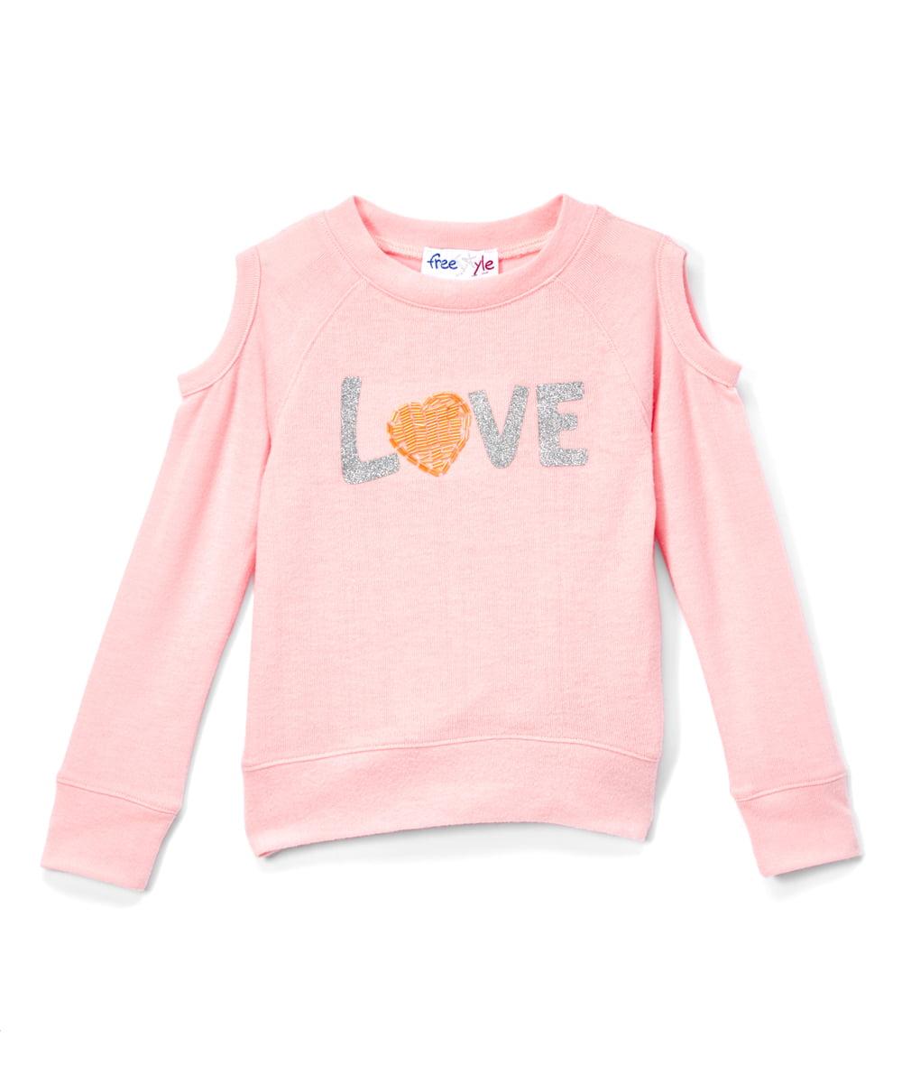 Beaded Love Cold Shoulder Fleece Sweatshirt (Little Girls & Big Girls)