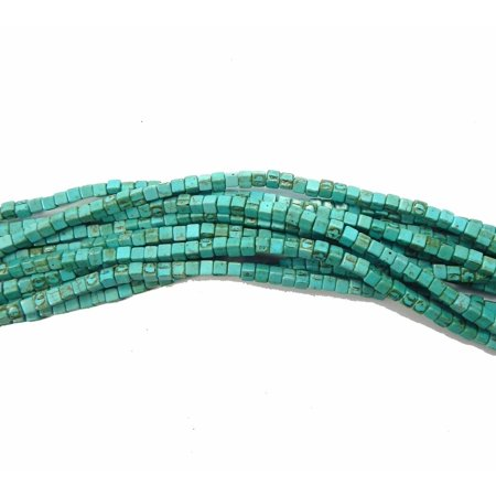 Blue 4x4mm Cube Chalk Turquoise Dyed Mix, Loose Beads, 15 inch of Strand