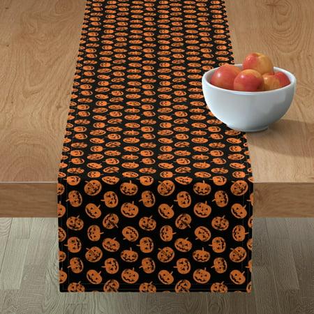 Image of Table Runner Halloween Pumpkins Cute Pumpkin Pumpkin Halloween Cotton Sateen