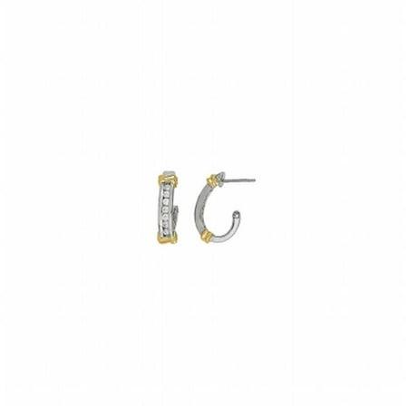 Fine Jewelry Vault UBNER40327TTAGCZ05014 Half Round CZ Hoop Earrings for Women in Two Tone Silver Gold Vermeil - 0.50 CT TGW , 14 Stones 22k Gold Vermeil Hoop