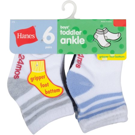 - Hanes Baby Toddler Boy Cushion Heel and Toe Ankle Socks - 6 Pair