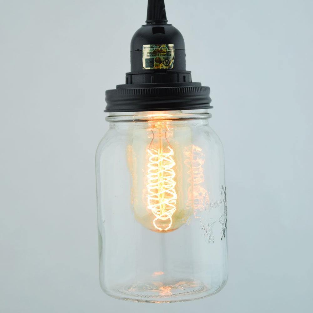 Charmant Fantado Mason Jar Pendant Light Kit, Regular Mouth, Black Cord, 15FT By  PaperLanternStore