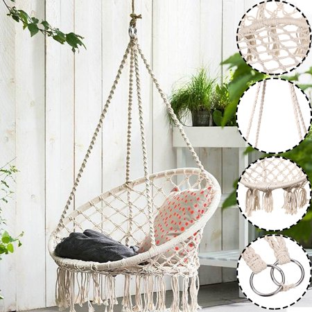 Kids Hanging Hammock Chair Swing Rope Macrame Chair Round Child Pet Playing Swing Seat 100kg Bearing Outdoor Indoor Home Garden Patio Reading Leisure Chair 90x50cm Walmart Canada