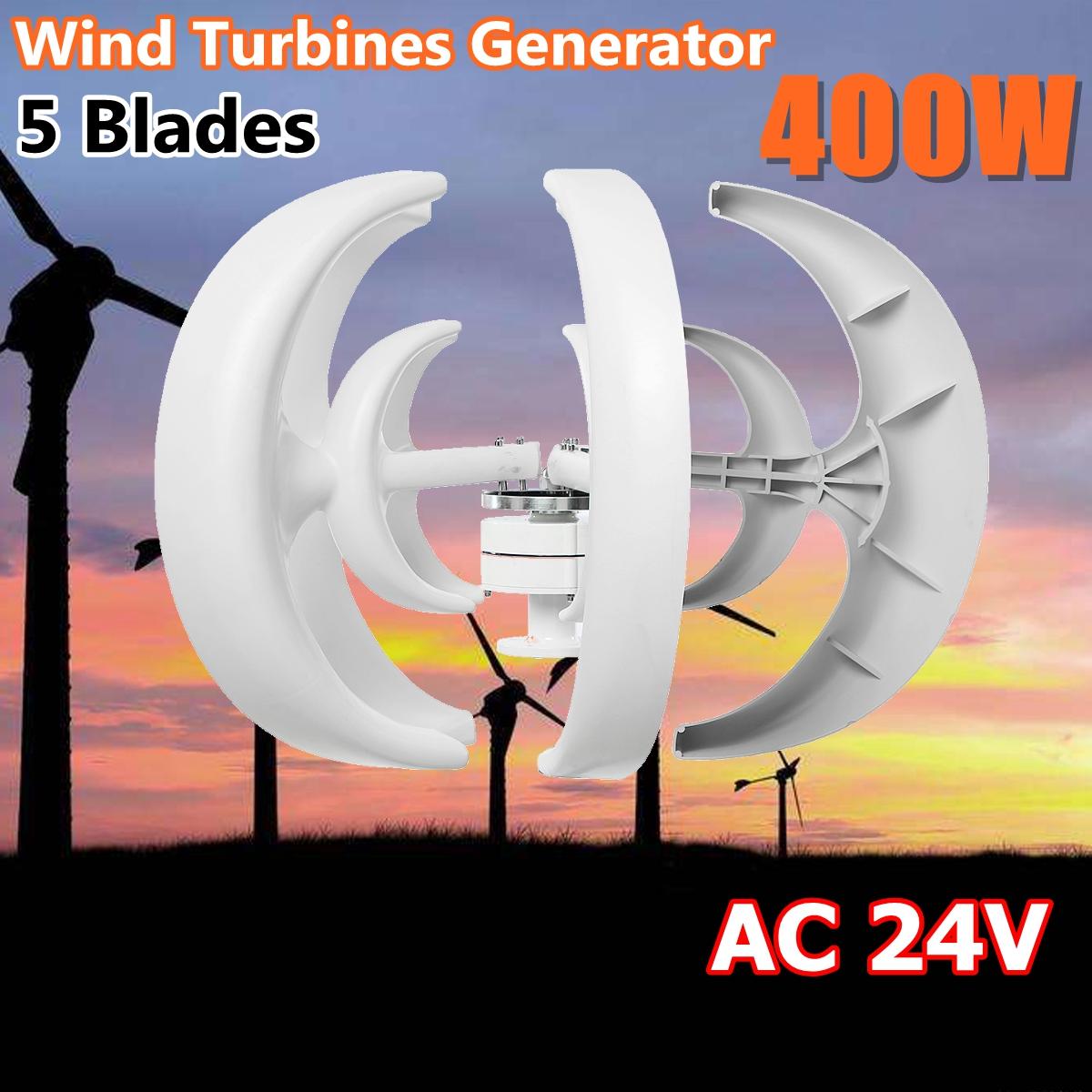 400W AC 24V 5 Blades Lanterns Wind Turbine Generator Vertical Axis Windmill,White by