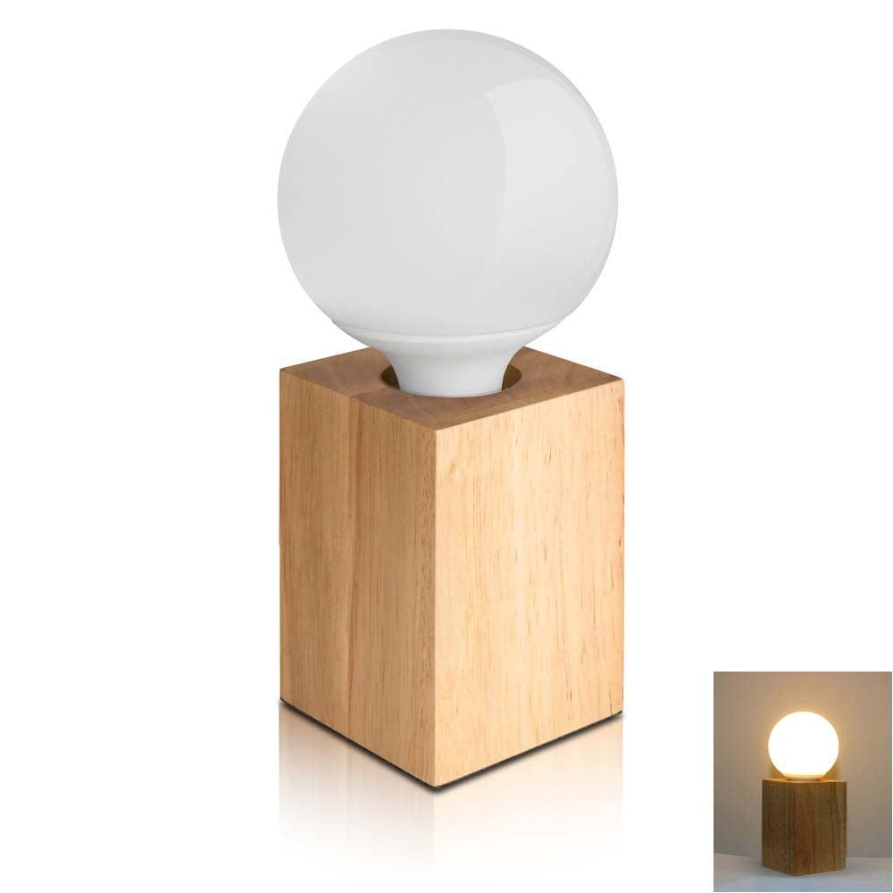 Zimtown E27 Modern Minimalist Solid Oak Square Warm White