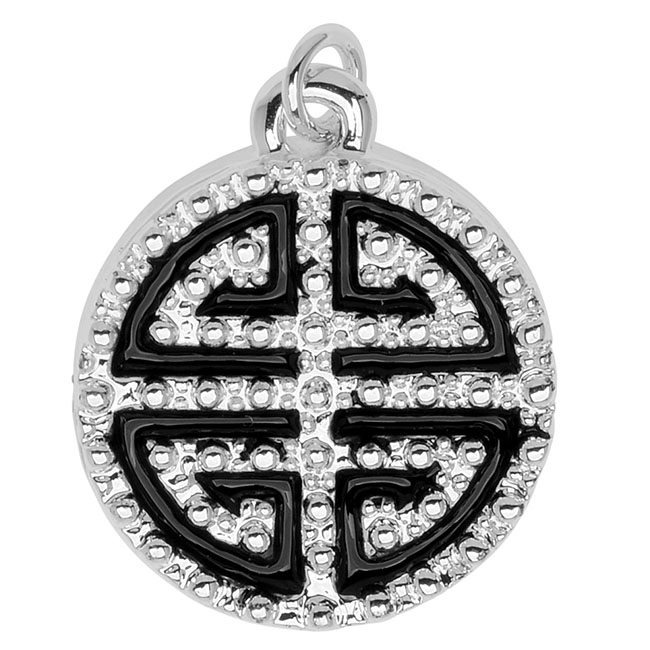 Silver Plated and Enameled Charm, Chinese Blessing 19.5x16.5x4mm, 1 Piece, Black