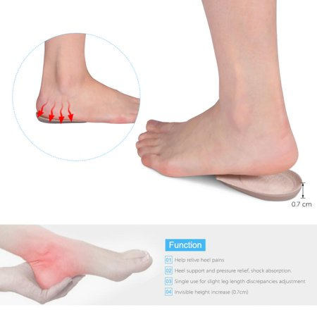 Gel Heel Lifts for Shoes Bone Spur Relief Cushion Self-adhesive Half Inserts Heel Cups Foot Pads Ankle Support Insoles for Plantar Fasciitis (2 Pairs Small