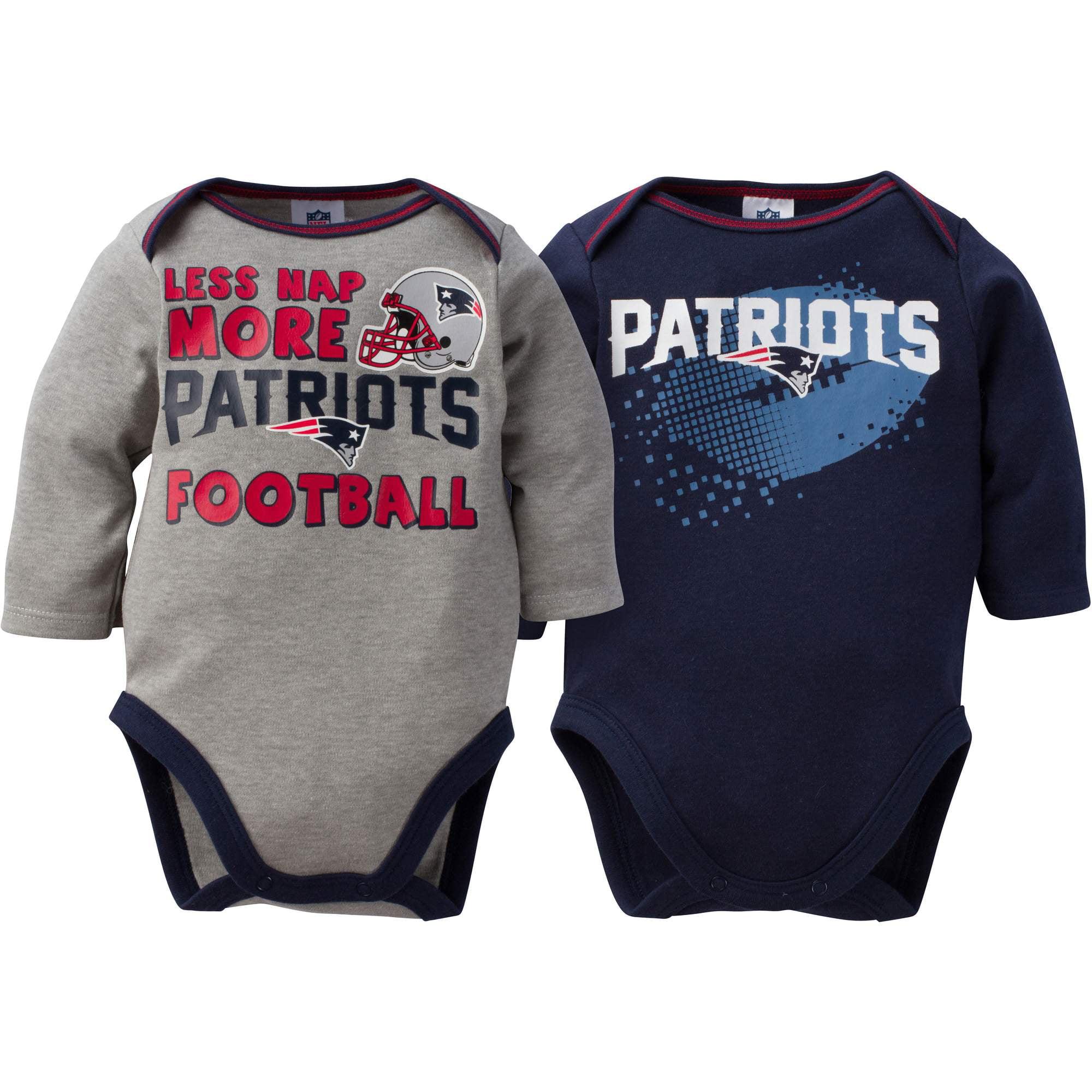 NFL New England Patriots Baby Boys Long Sleeve Bodysuit Set, 2-Pack