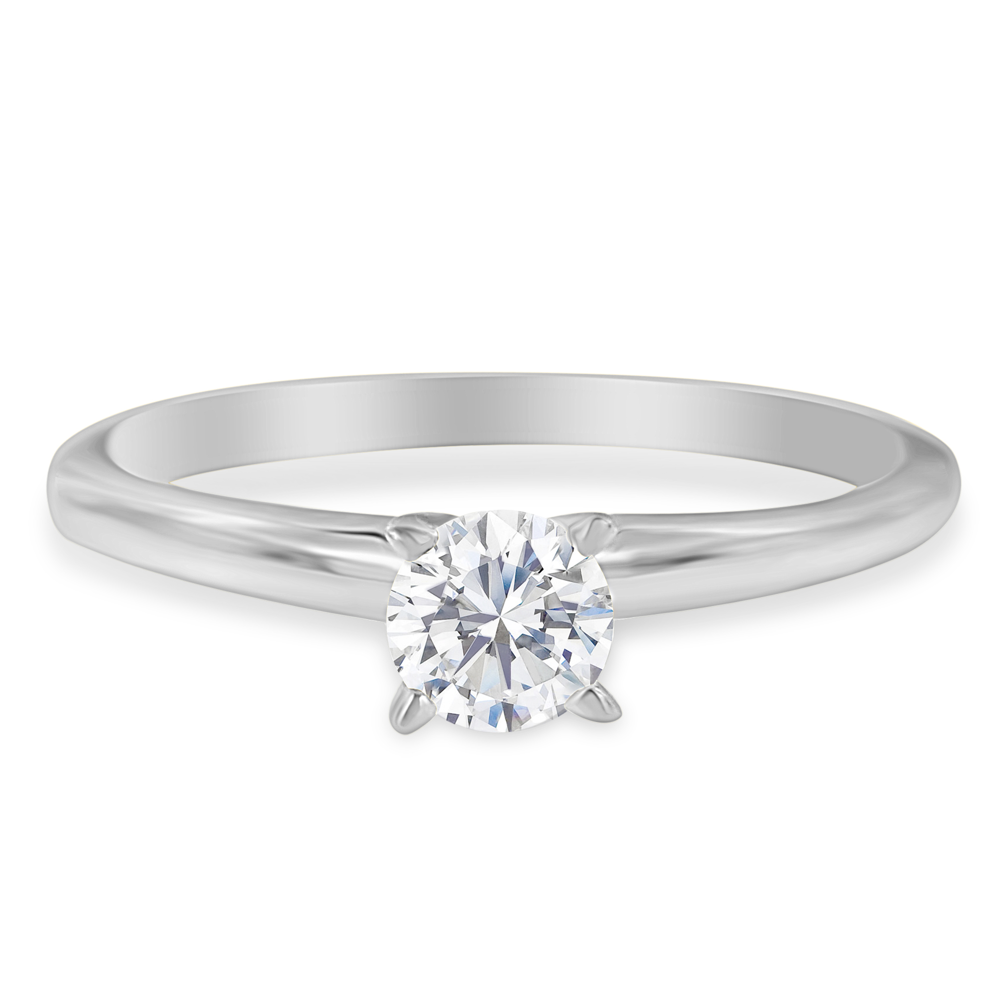 14k White Gold 0.73ct TDW Round-cut GIA Certified Diamond Solitaire Engagement Ring (I,SI1)