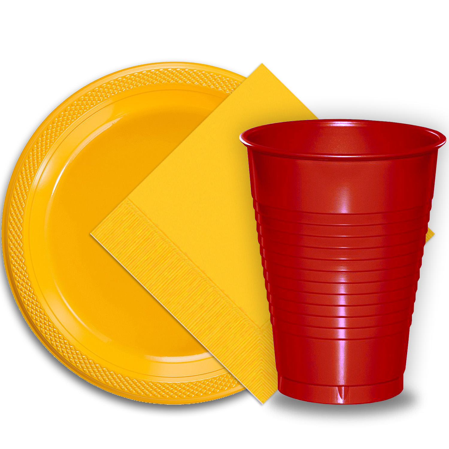 "50 Yellow Plastic Plates (9""), 50 Red Plastic Cups (12 oz.), and 50 Yellow Paper Napkins, Dazzelling Colored Disposable Party Supplies Tableware Set for Fifty Guests."