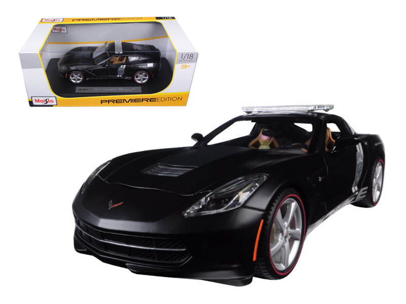 2014 Chevrolet Corvette C7 Stingray Police Matt Black 1 18 Diecast Model Car by Maisto by Diecast Dropshipper