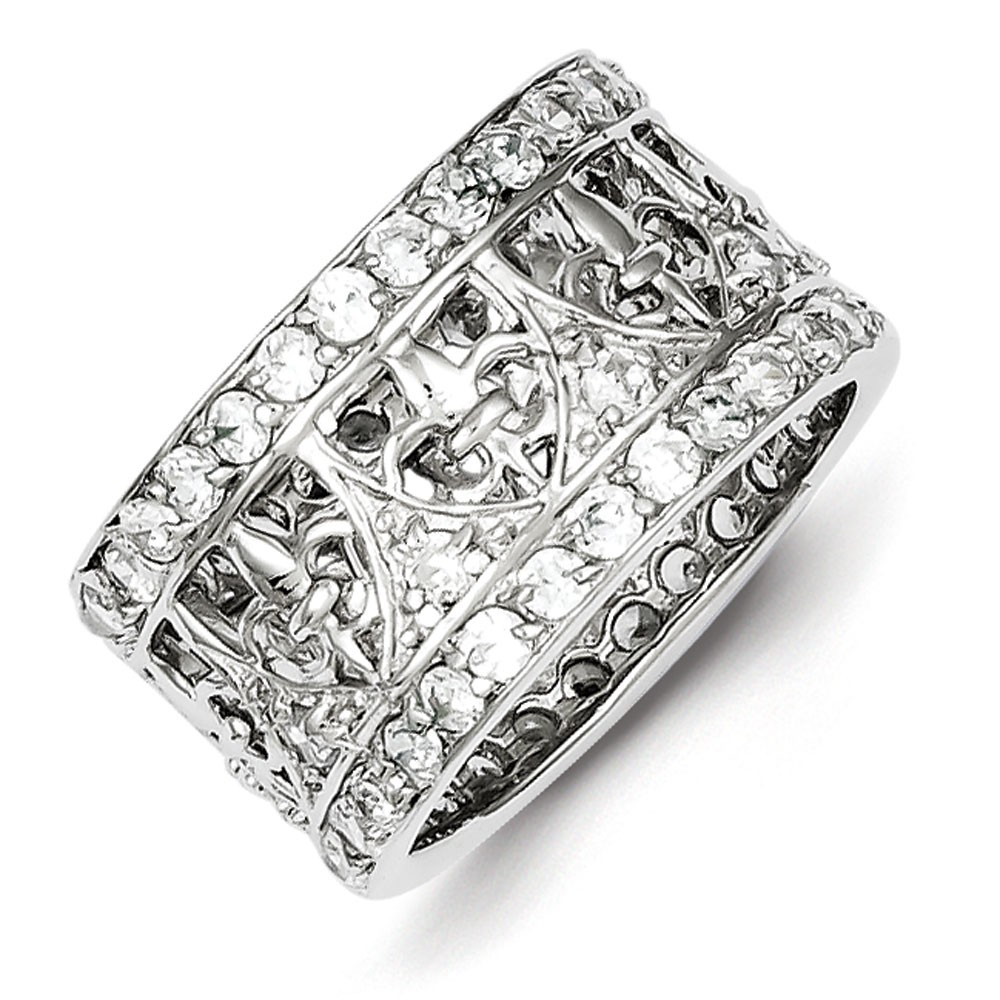 Sterling Silver CZ Fleur-de-lis Band Ring - Ring Size: 6 to 8