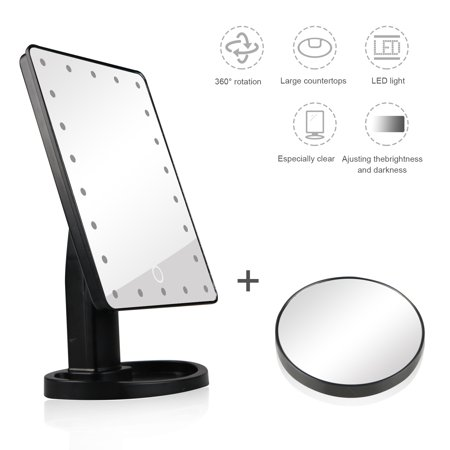 TSV LED Makeup Mirror, 22 LED Lighted Vanity Mirror with Removable 10X Magnification Spot Mirror,Two Power Supply Mode
