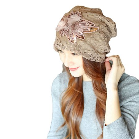 Women Hollow Lace Flower Slouchy Beanie Hat Chemo Turban Cap (Lace Front Weave Cap)