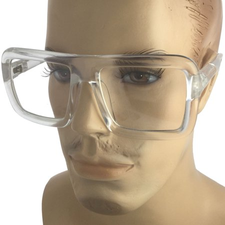 Mens Bold Frame Large Thick Retro Nerd Bold Big Oversized Square Clear Lens Glasses, Clear (Big Goofy Glasses)