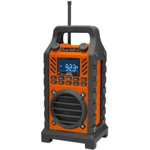 Pyle-Home Rugged and Portable Bluetooth Speaker with Durable Construction, Thick Rubber Casing, FM Radio, USB/SD Card Readers, AUX Input and Built-In Rechargeable Battery, Orange