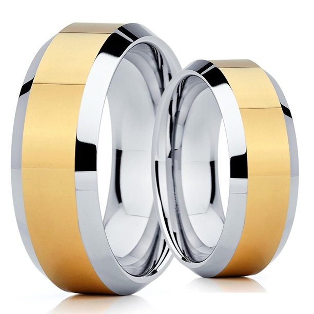 His and Hers - 8mm- Tungsten Wedding Band - Yellow Gold Tungsten Ring - Yellow Gold Tungsten Band