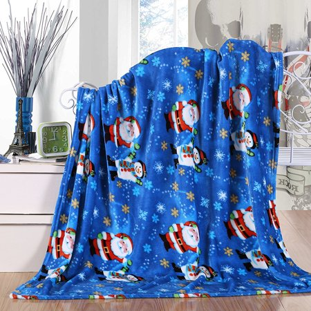 Santa Amp Friend Ultra Plush Fleece Christmas Throw Blanket