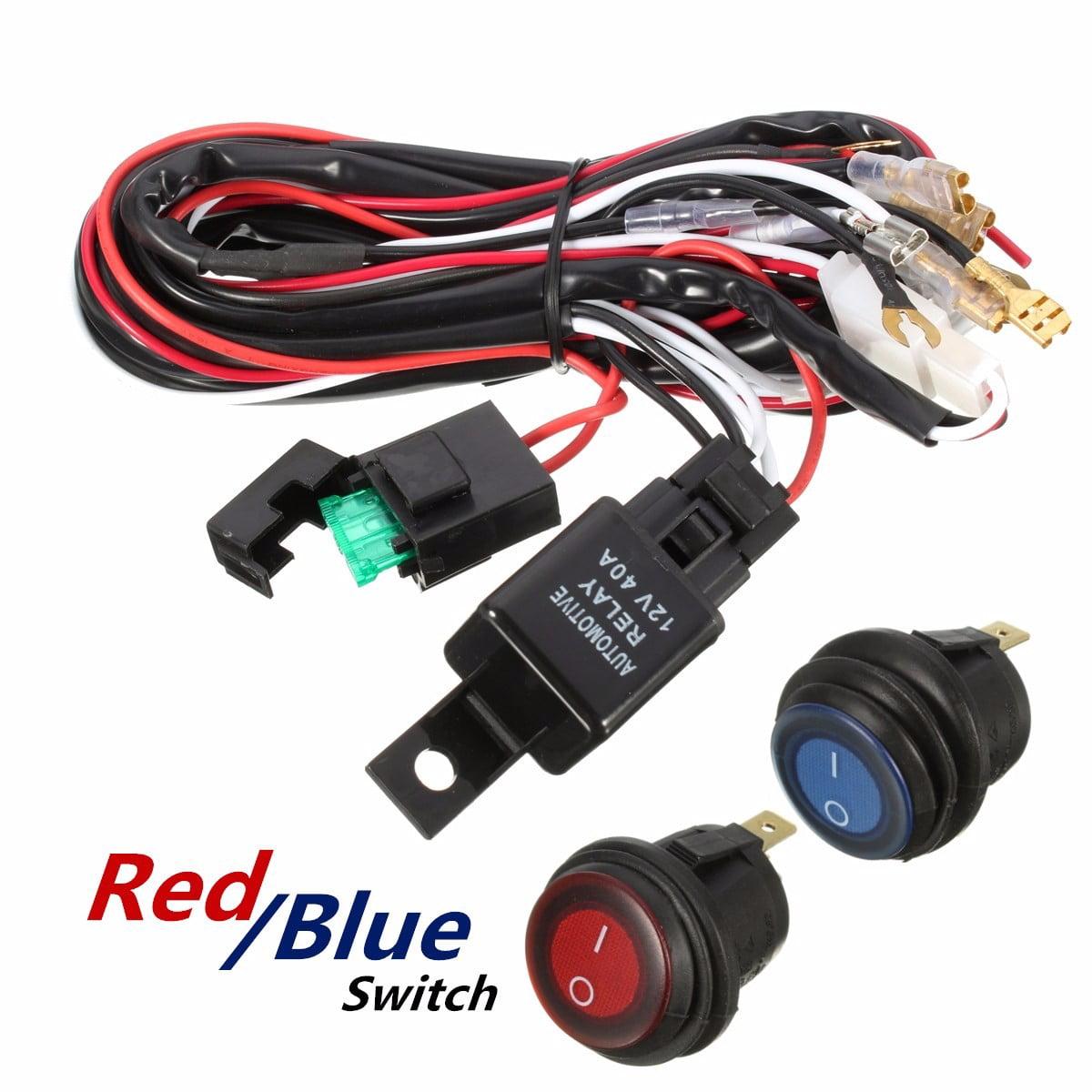 Wiring Harness Relay 40A 12V LED Light Bar Blue Switch FIT Off Road ATV  US,Red color - Walmart.com - Walmart.comWalmart