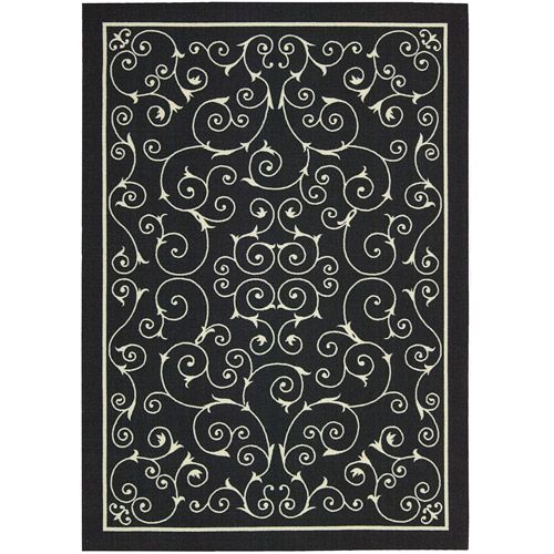 Nourison Home and Garden Polyester Indoor/Outdoor Rug, Black