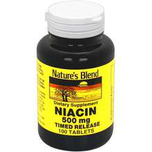 - Nature's Blend Niacin Timed Release 500 mg 500 mg 100 Tabs