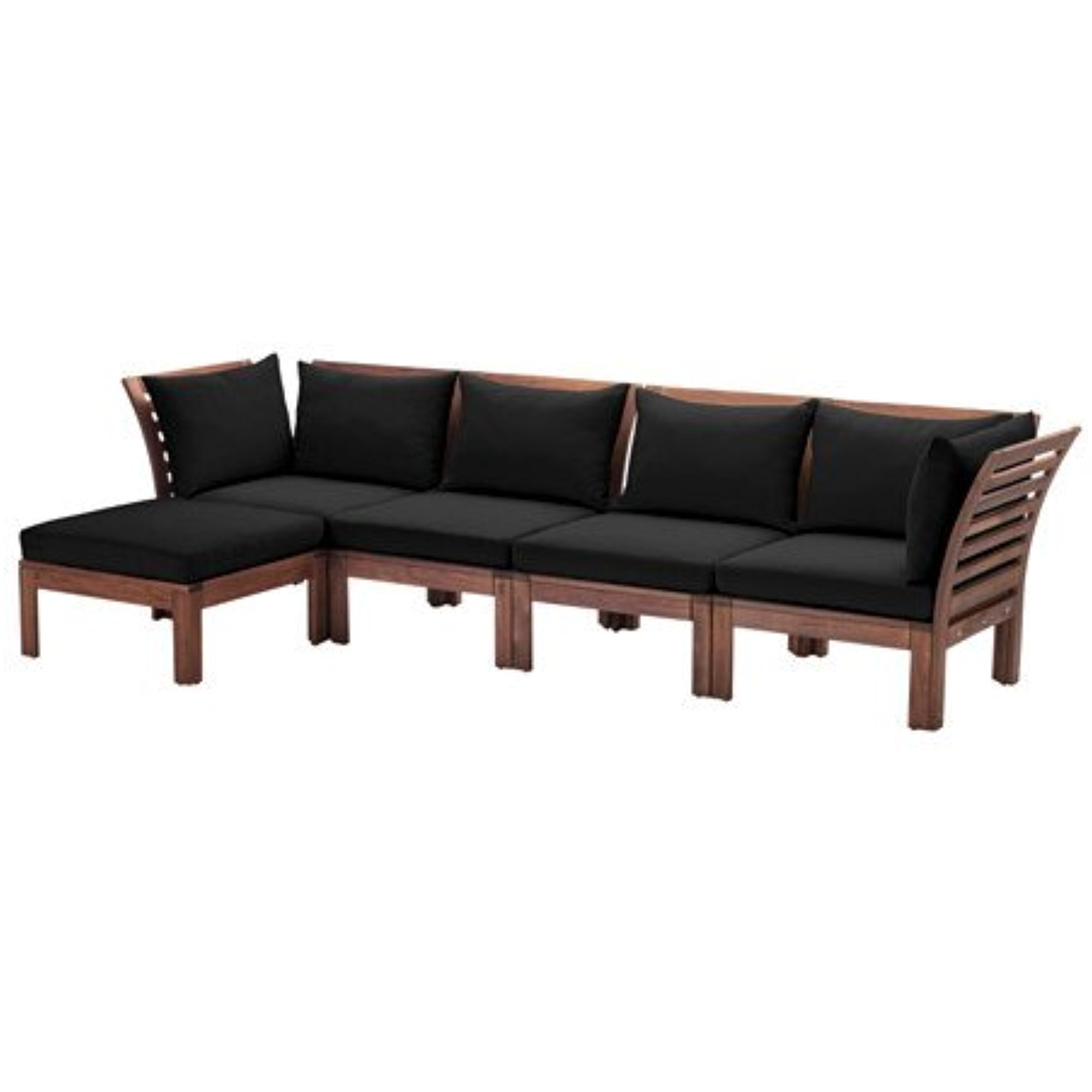 Ikea 4-seat sofa with footstool, outdoor, brown stained, black , 56 1/4/112  5/8x31 1/2x28 3/4 \