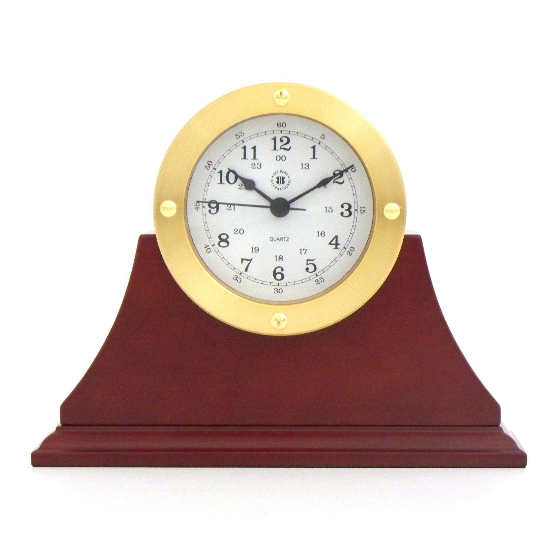 Bey-Berk International Gold Tone Metal Clock on Mahogany Base - Tarnish Proof
