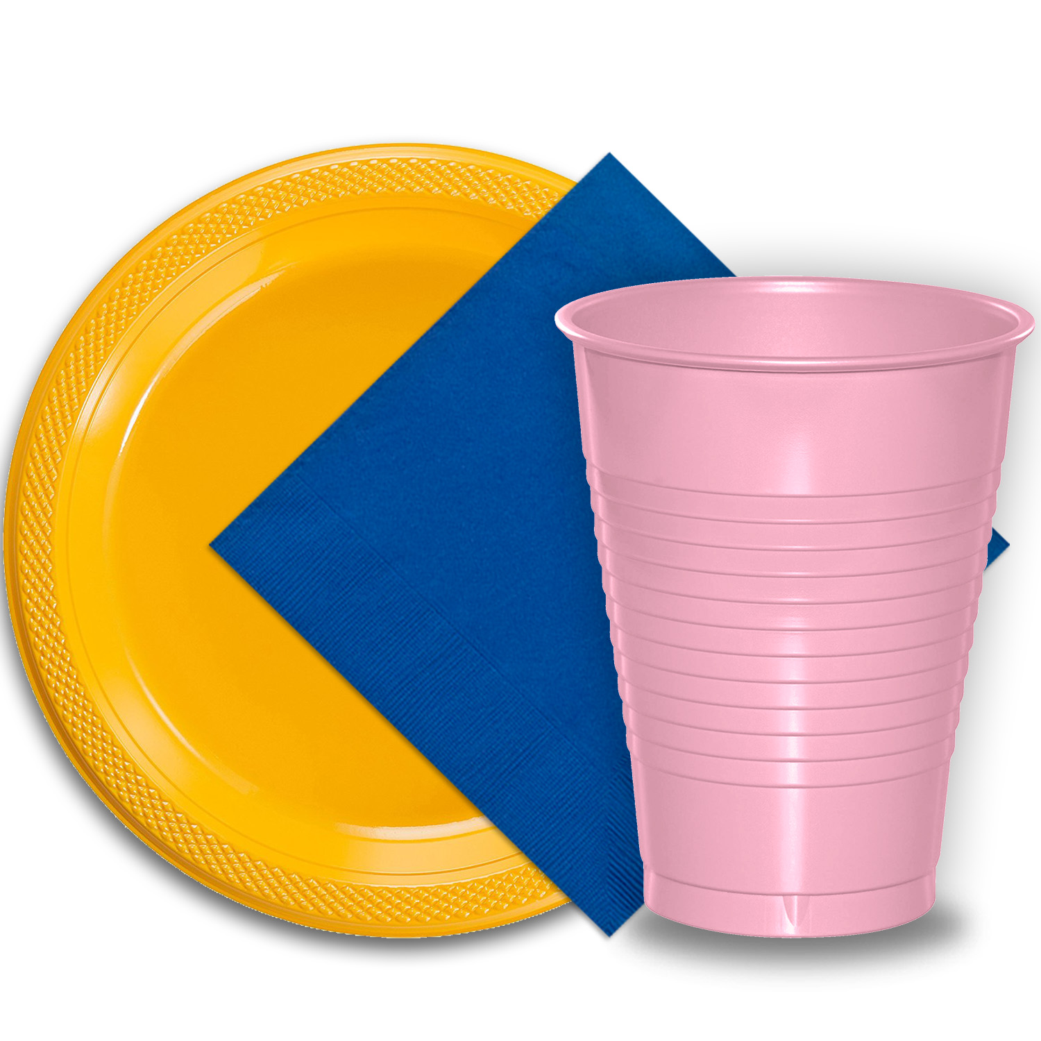 "50 Yellow Plastic Plates (9""), 50 Pink Plastic Cups (12 oz.), and 50 Dark Blue Paper Napkins, Dazzelling Colored Disposable Party Supplies Tableware Set for Fifty Guests."