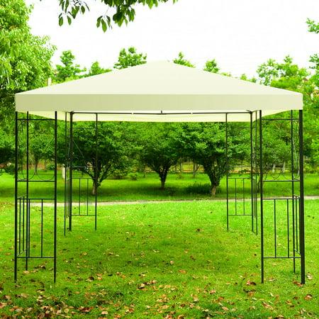 GHP 10'x10' Steel Frame Polyester Fabric Waterproof Top Patio Gazebo Canop Tent - Tmnt Fabric