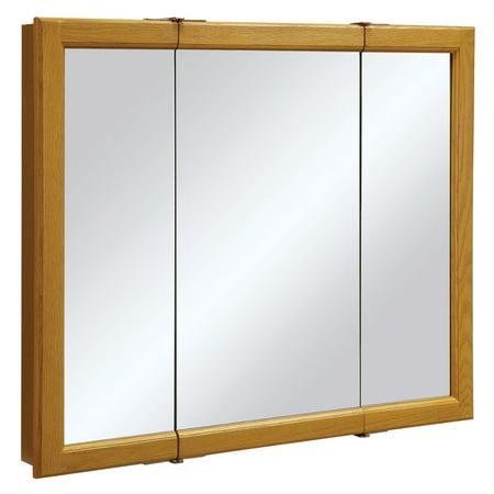Solid Mirrored Bath (Design House 545285 Claremont Tri-View Medicine Cabinet Mirror 36