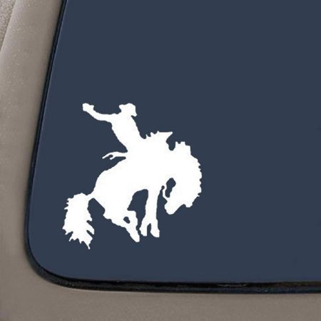 Rodeo Bronco Western Car Window Wall Laptop Decal | Bronc Rider Decal | White Vinyl | 5.5-Inches By 5.3-Inches | Car Truck Van SUV Laptop Macbook Wall (Bronc Rider Concho)