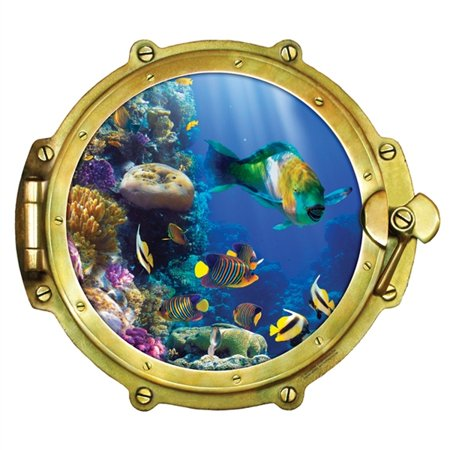 Window Views Peel & Stick Porthole Wall Decal: Tropical Fish (36 in x 32.5 in) (Stick Figure Window Decals)