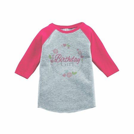 7 ate 9 Apparel Girl's Floral Birthday Pink Raglan Tee - YOUTH LARGE (14-16)
