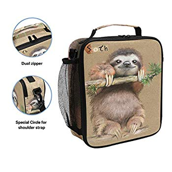 Vunko Floral Sloth Insulated Lunch Bag for School Work Office Picnic Follow Your Dream Tote Lunch Box Containers for Adults and Kids Compact Reusable Cooler Bag with Shoulder Strap