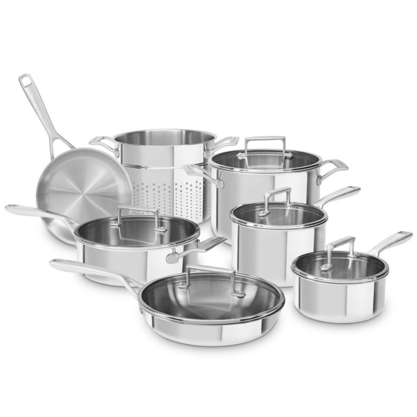 KitchenAid Tri-Ply Stainless Steel 12-Piece Cookware Set