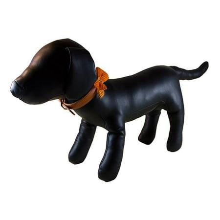 Polka Dot Bow Tie Dog Collar - Orange, Small - image 1 de 1