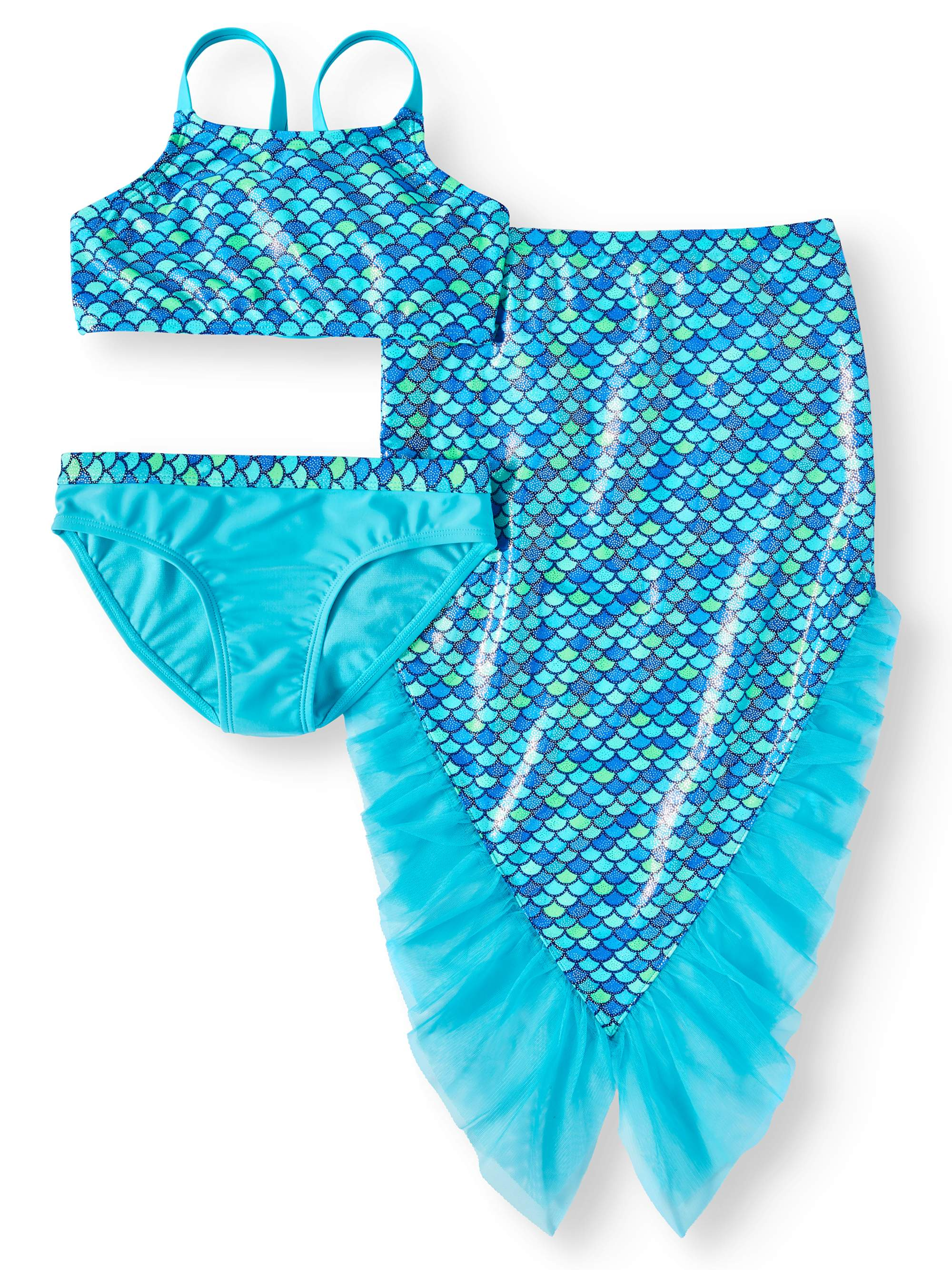 Mermaid Bikini Swimsuit and Skirt Coverup, 3-Piece Set (Little Girls & Big Girls)