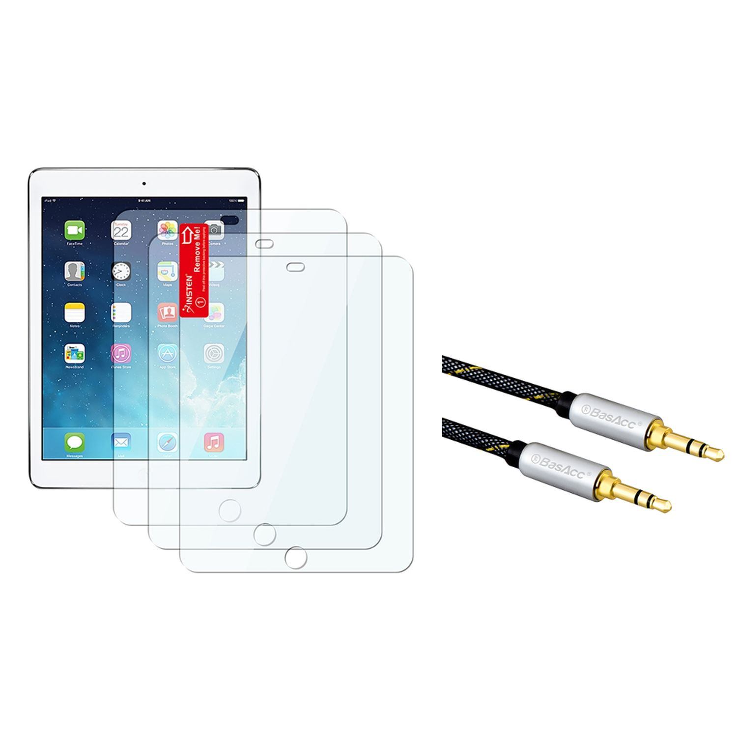 Insten 3 pcs Set Clear Screen Protector for iPad Air 1 1st 2 2nd Gen (with 3.5mm Audio Extension Cable M/M)