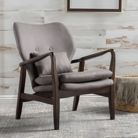 Noble House Addie Dark Grey Fabric Club Accent Chair