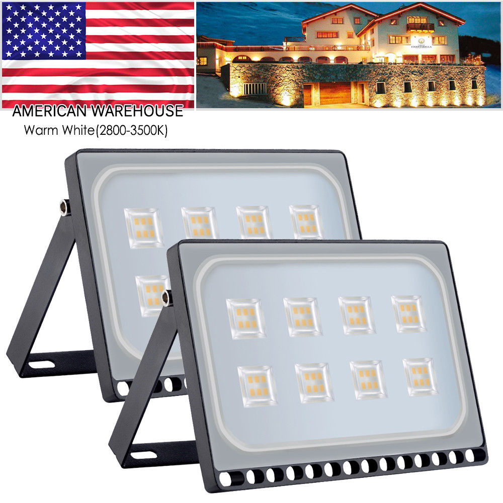 2pcs Ultraslim 50W LED Floodlight Outdoor Security Lights 110V Warm white