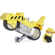 PAW Patrol, Moto Pups Rubble's Deluxe Pull Back Motorcycle Vehicle with Wheelie Feature and Toy Figure