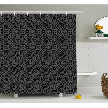 Dark Grey Shower Curtain Baroque Venetian Flower Motifs Medieval Ornate Mosaic Gothic Design Elements