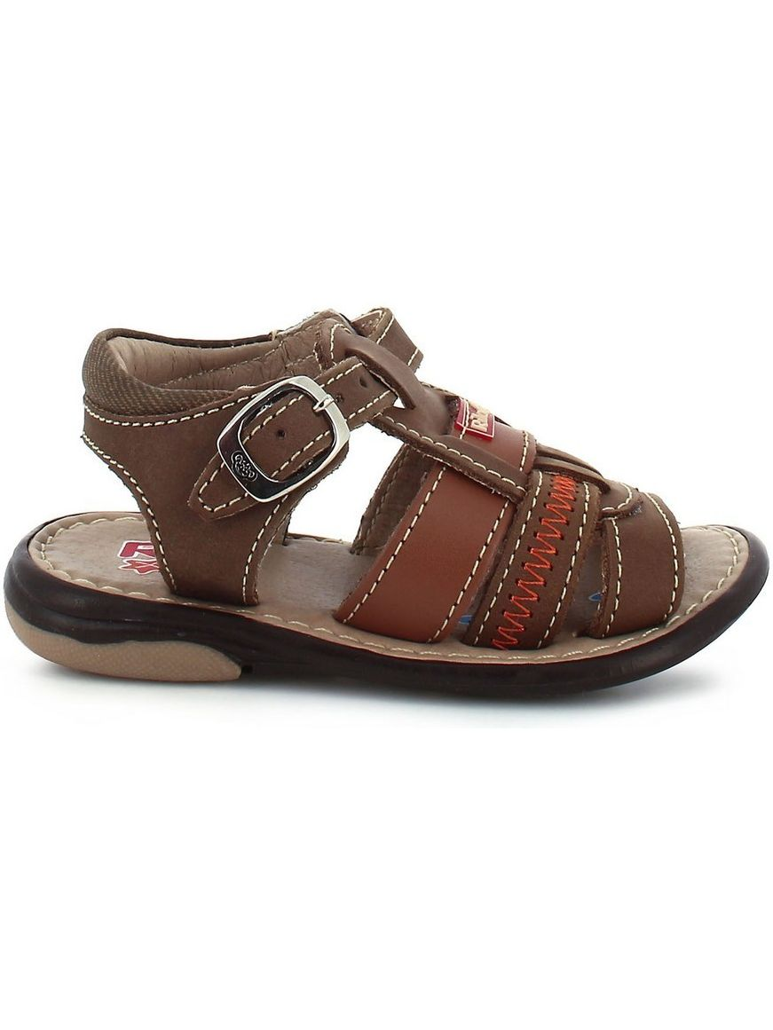 Rilo Little Boys Crazy Brown Buckle Strappy Leather Sandals