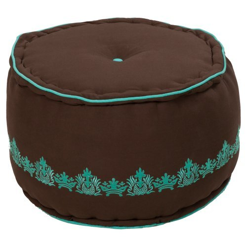 Surya 22 in. Round Jute and Cotton Pouf