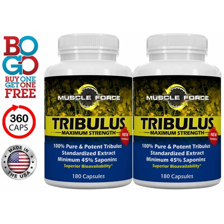 BOGO Tribulus Terrestris - Two 180 Count Bottles! 1500mg Maximum Strength Bulgarian Tribulus