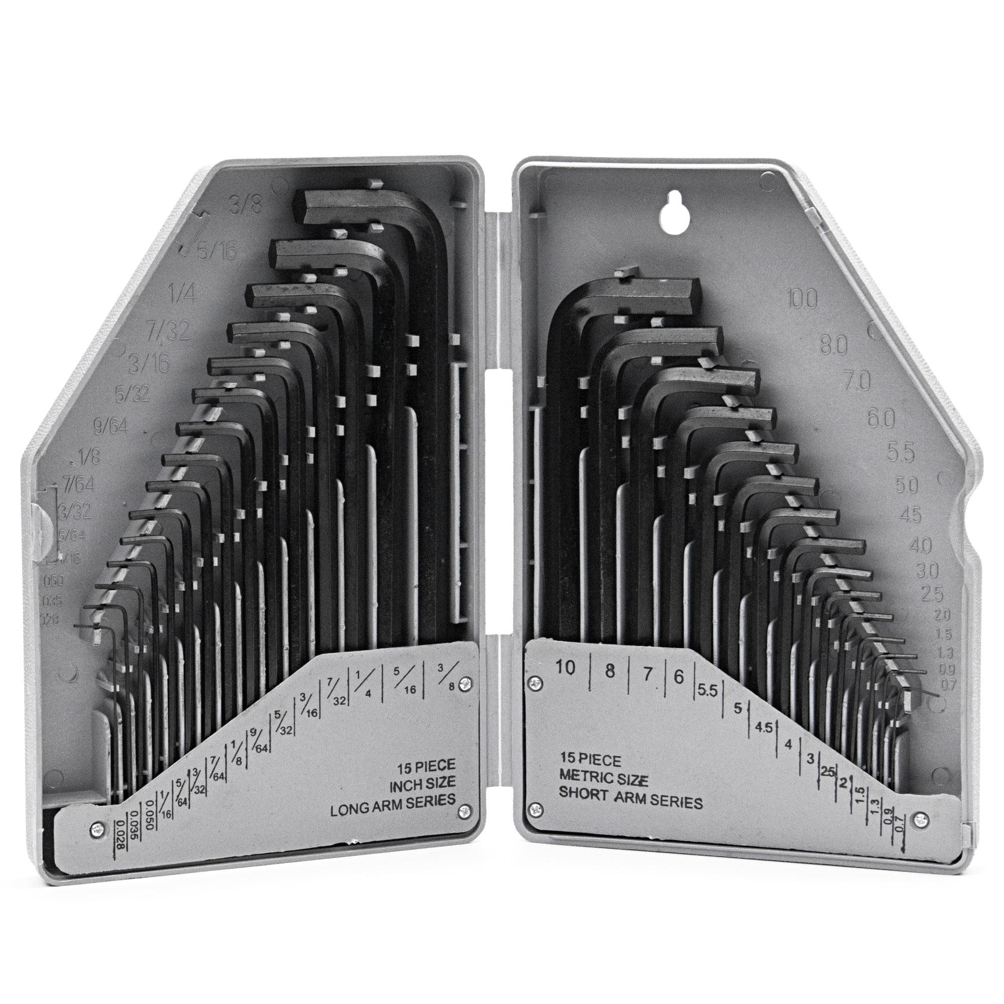 Biltek Biltek 30PC Long Arm Hex Key SAE Metric Cr-V Allen L Wrench Driver Tool Set New